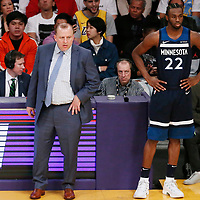 25 December 2017: Minnesota Timberwolves head coach Tom Thibodeau is seen next to Minnesota Timberwolves forward Andrew Wiggins (22) during the Minnesota Timberwolves 121-104 victory over the LA Lakers, at the Staples Center, Los Angeles, California, USA.