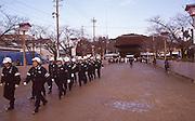 Police prepare for crowd control duties before the beginning of the Naked Man Festival (Hadaka Matsuri) in Kounomiya, Nagoya.