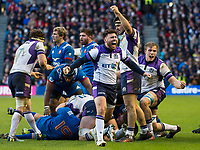 EDINBURGH, SCOTLAND - FEBRUARY 11: A delighted Stuart McInally as Scotland beat the French 32-26 during the NatWest Six Nations match between Scotland and France at Murrayfield on February 11, 2018 in Edinburgh, Scotland. (Photo by MB Media/Getty Images)