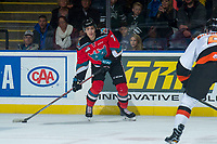 KELOWNA, CANADA - NOVEMBER 25: Libor Zabransky #7 of the Kelowna Rockets looks for the pass during first period against the Medicine Hat Tigers on November 25, 2017 at Prospera Place in Kelowna, British Columbia, Canada.  (Photo by Marissa Baecker/Shoot the Breeze)  *** Local Caption ***