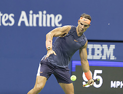 September 4, 2018 - New York, New York, United States - Rafael Nadal of Spain returns ball during US Open 2018 quarterfinal match against Dominic Thiem of Austria at USTA Billie Jean King National Tennis Center (Credit Image: © Lev Radin/Pacific Press via ZUMA Wire)
