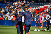 ALPHONSE AREOLA (PSG) AND GIANLUIGI BUFFON (PSG) at warm up, arms in arms during the French championship L1 football match between Paris Saint-Germain (PSG) and SCO Angers, on August 25th, 2018 at Parc des Princes Stadium in Paris, France - Photo Stephane Allaman / ProSportsImages / DPPI