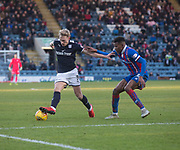 20th January 2018, Dens Park, Dundee, Scotland; Scottish Cup fourth round, Dundee versus Inverness Caledonian Thistle; Dundee's A-Jay Leitch-Smith and Inverness Caledonian Thistle's Riccardo Calder