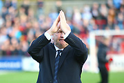 Accrington Stanley manager, John Coleman celebrates at the final whistle during the EFL Sky Bet League 2 match between Accrington Stanley and Coventry City at the Fraser Eagle Stadium, Accrington, England on 14 October 2017. Photo by John Potts.