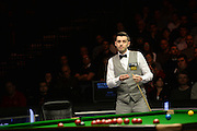 19.02.2016. Cardiff Arena, Cardiff, Wales. Bet Victor Welsh Open Snooker. Mark Selby versus Ronnie O'Sullivan. Mark Selby looks over the table.