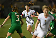 United Stated defender Kelley O'Hara (5) kicks the ball in an international friendly women's soccer match, Saturday, Aug. 3, 2019,  in Pasadena, Calif., The U.S. defeated Ireland 3-0. (Dylan Stewart/Image of Sport)