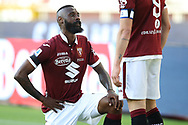 Torino FC's Cameroonian defender Nicolas Nkoulou takes the knee after scoring to give the side a 1-0 lead during the Serie A match at Stadio Grande Torino, Turin. Picture date: 20th June 2020. Picture credit should read: Jonathan Moscrop/Sportimage