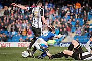 Chesterfield defender Andy Kellett (24) is bought down for a late penalty during the EFL Sky Bet League 2 match between Chesterfield and Notts County at the Proact stadium, Chesterfield, England on 25 March 2018. Picture by Nigel Cole.