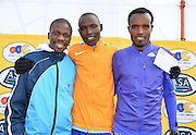 PORT ELIZABETH, SOUTH AFRICA - JULY 30: Stephen Mokoka, Edwin Koech of Kenya and Asefa Negewo of Ethiopia during the SA Half Marathon Championships on July 30, 2016 in Port Elizabeth, South Africa. (Photo by Roger Sedres/Gallo Images)