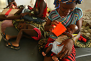 A mother feeds her child at the therapeutic feeding center of the Magbenthe hospital in Makeni, Sierra Leone on Thursday February 26, 2009. UNICEF sponsored some of the construction of the hospital facilities, and also provides high-protein biscuits and milk as part of a joint effort with the World Food Programme..