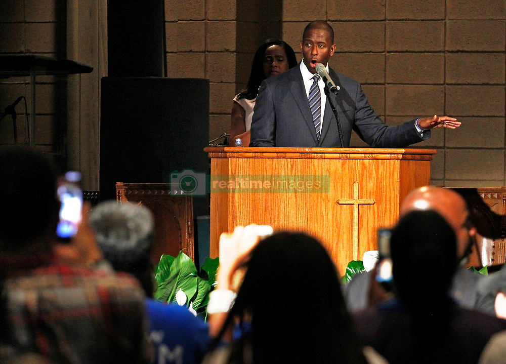 Mayor Andrew Gillum gets a standing ovation while addressing supporters and urging them to keep politically engaged as the Broward County of Supervisor of Elections Office has five days to recount votes cast over an entire month leading up to the midterm election on Tuesday, November 6, 2018. Gillum held a faith-based recount rally inside New Mount Olive Baptist Church in Fort Lauderdale, FL, USA on Sunday, November 11, 2018. Photo by Carl Juste/Miami Herald/TNS/ABACAPRESS.COM