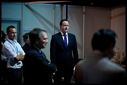 The Prime Minister David Cameron waiting backstage to deliver his speech to the Conservative Party Conference in Manchester, Wednesday October 5, 2011. Photo By Andrew Parsons / i-Images.