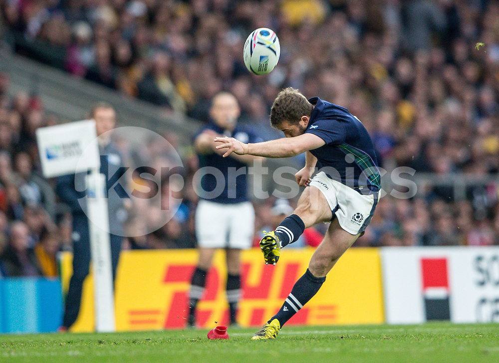 Greig Laidlaw (capt) of Scotland converts a penalty during the Rugby World Cup Quarter Final match between Australia and Scotland played at Twickenham Stadium, London on the 18th of October 2015. Photo by Liam McAvoy.