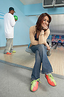 Young Woman in Bowling Alley