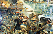 Russo-Japanese War 1904-1905: Naval battle between Russian and Japanese fleets off Port Arthur, 10 August 1904. Scene on Russian flagship 'Tsarevich'  during the engagement showing gun being loaded. From contemporary German chromolithograph.