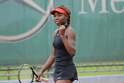 May 16, 2018 - Trnava, Slovakia - FRANCOISE ABANDA of Canada celebrates winning her first round match in the Empire Slovak Open tennis tournament in Trnava Slovakia (Credit Image: © Christopher Levy via ZUMA Wire)