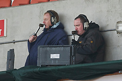 BLACKPOOL, ENGLAND - Wednesday, March 3, 2011: Liverpool's commentator Steve Hunter and former player David Fairclough during the FA Premiership Reserves League (Northern Division) match against Blackpool at Bloomfield Road. (Photo by David Rawcliffe/Propaganda)