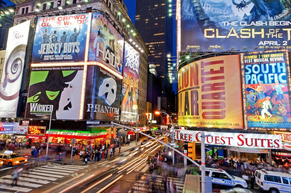 City Lights at Night, Times Square, New York, New York