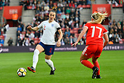 Lucia Bronze (2) of England on the attack during the FIFA Women's World Cup UEFA Qualifier match between England Ladies and Wales Women at the St Mary's Stadium, Southampton, England on 6 April 2018. Picture by Graham Hunt.