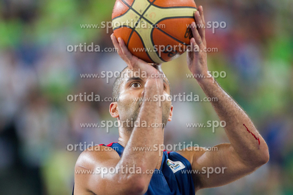 Tony Parker #9 of France during basketball match between National teams of Slovenia and France in Quarterfinals at Day 15 of Eurobasket 2013 on September 18, 2013 in Arena Stozice, Ljubljana, Slovenia. (Photo by Vid Ponikvar / Sportida.com)