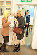 PAM HOGG;  KAREN BINNS, David Salle private view at the Maureen Paley Gallery. 21 Herlad St. London. E2. <br /> <br />  , -DO NOT ARCHIVE-&copy; Copyright Photograph by Dafydd Jones. 248 Clapham Rd. London SW9 0PZ. Tel 0207 820 0771. www.dafjones.com.