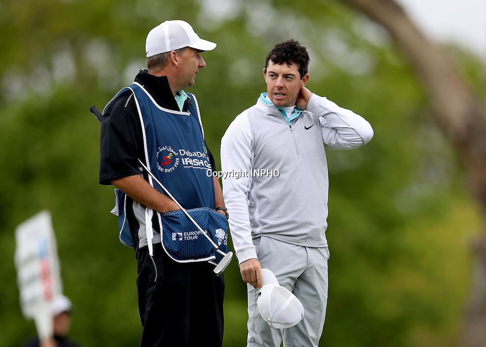 2016 Dubai Duty Free Irish Open Day 2, The K Club, Co. Kildare 20/5/2016<br /> Rory McIlroy with caddie JP Fitzgerald on the 18th hole <br /> Mandatory Credit &copy;INPHO/Ryan Byrne