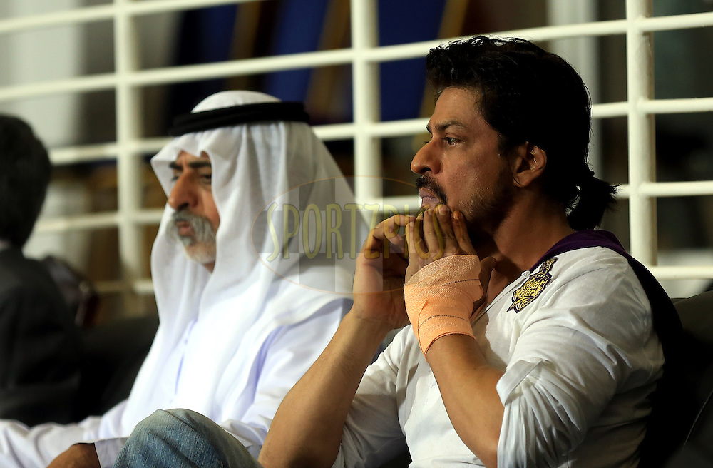 His Excellency Shaikh Nahayan Mubarak and Sharaukh Khan owner of Kolkatta Knight Riders during match 19 of the Pepsi Indian Premier League 2014 Season between The Kolkata Knight Riders and the Rajasthan Royals held at the Sheikh Zayed Stadium, Abu Dhabi, United Arab Emirates on the 29th April 2014<br /> <br /> Photo by Sandeep Shetty / IPL / SPORTZPICS