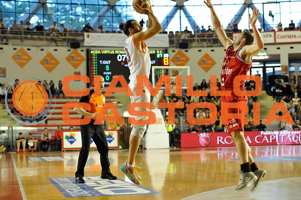 DESCRIZIONE : Roma Lega A 2012-13 Acea Virtus Roma Trenkwalder Reggio Emilia Gara 5<br /> GIOCATORE : Luigi Datome<br /> CATEGORIA : three points <br /> SQUADRA : Acea Virtus Roma<br /> EVENTO : Campionato Lega A 2012-2013 Play Off Quarti Gara 5<br /> GARA : Acea Virtus Roma Trenkwalder Reggio Emilia Gara 5<br /> DATA : 17/05/2013<br /> SPORT : Pallacanestro <br /> AUTORE : Agenzia Ciamillo-Castoria/N. Dalla Mura<br /> Galleria : Lega Basket A 2012-2013 <br /> Fotonotizia : Roma Lega A 2012-13 Acea Virtus Roma Trenkwalder  Reggio Emilia Gara 5