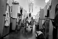 JUMP inmate Mark King, 50, uses his wheel chair inside the gym where he sleeps inside pleasant valley state prison in Coalinga, CA. Wednesday Aug. 29, 2007. King contracted Valley Fever while in prison..Sacramento Bee/ Brian Baer