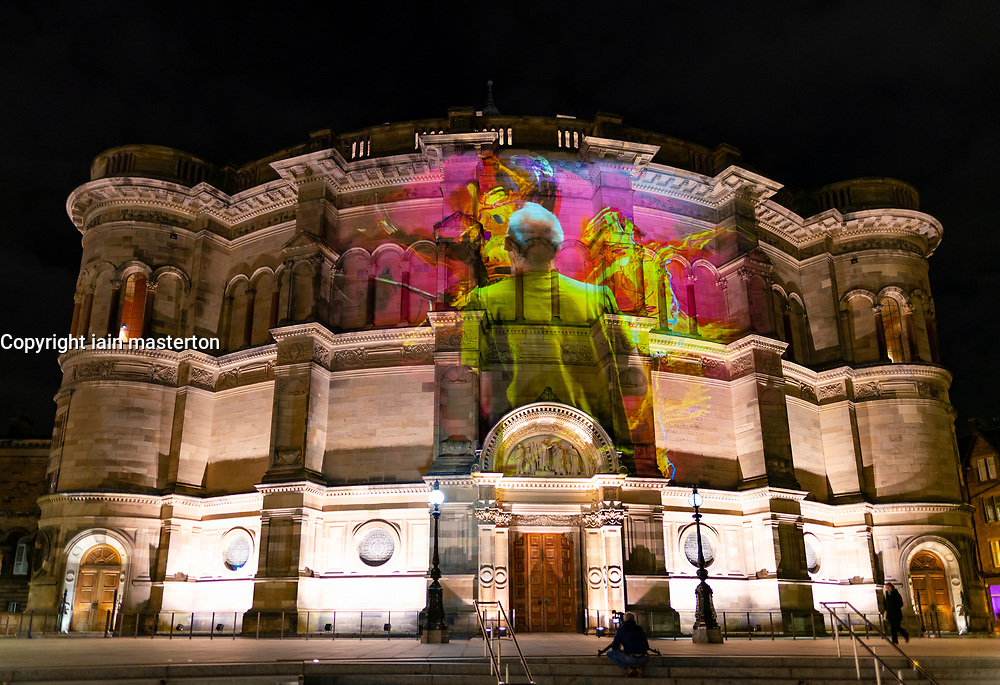 Edinburgh, Scotland, UK. 5th November 2019. <br /> To celebrate their 2020/2021 season launch, Scottish Ballet collaborated with artist Alan McGowan to create a specially commissioned visual art projection that was unveiled in Edinburgh tonight. Scottish Ballet are performing three ballets this Christmas; Swan Lake, The Nutcracker and The Scandal at Mayerling. The projection features a time-lapse film of the artist painting the 2020 campaign imagery for three paintings; one for each ballet and was projected onto the University of Edinburgh's McEwan Hall. Pictured; Image of artist creating The painting of The Nutcracker ballet. Iain Masterton/Alamy Live News.