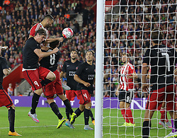 Steven Caulker of Southampton scores a goal which is then disallowed - Mandatory byline: Paul Terry/JMP - 07966386802 - 20/08/2015 - FOOTBALL - ST Marys Stadium -Southampton,England - Southampton v FC Midtjylland - EUROPA League Play-Off Round