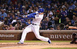 June 6, 2017 - Chicago, IL, USA - The Chicago Cubs' Anthony Rizzo hits a three-run home run in the fifth inning against the Miami Marlins at Wrigley Field in Chicago on Tuesday, June 6, 2017. (Credit Image: © Chris Sweda/TNS via ZUMA Wire)