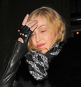 21.DECEMBER.2010. LONDON<br /> <br /> MADONNA LEAVING THE WOLSELEY RESTAURANT IN MAYFAIR AFTER HAVING DINNER WITH BOYFRIEND BRAHIM ZAIBA. THEY LEFT SEPERATLEY 2 MINUTES APART BEFORE GETTING INTO DIFFERENT CARS TO HEAD HOME<br /> <br /> BYLINE: EDBIMAGEARCHIVE.COM<br /> <br /> *THIS IMAGE IS STRICTLY FOR UK NEWSPAPERS AND MAGAZINES ONLY*<br /> *FOR WORLD WIDE SALES AND WEB USE PLEASE CONTACT EDBIMAGEARCHIVE - 0208 954 5968*