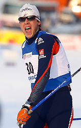 CHANGCHUN, CHINA - SUNDAY, FEBRUARY 25th, 2007: Jonnier Emmanuel of France celebrates after winning the bronze medal in the men's 15 km sprint race at the 2007 FIS World Cup cross-country skiing event. (Pic by Osports/Propaganda)