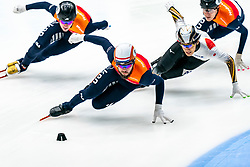 Sjinkie Knegt in action on the 1500 meter B final during ISU World Cup Finals Shorttrack 2020 on February 15, 2020 in Optisport Sportboulevard Dordrecht.