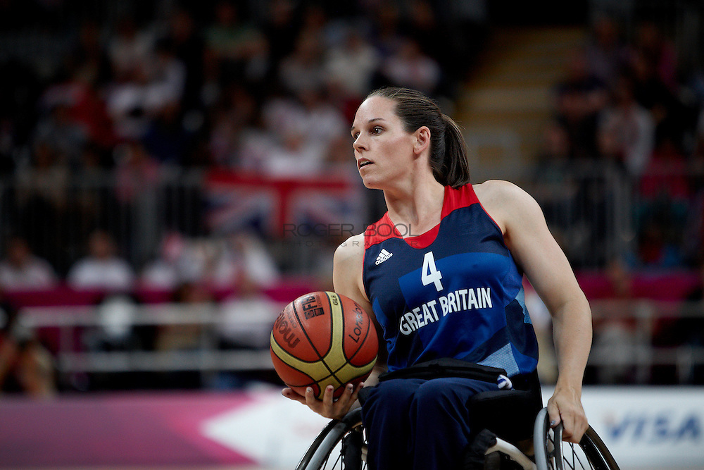 Caroline Maclean of the Gerat Britain women's Wheelchair Basketball team plays at the Paralympic Basketball Arena in their 42-37 win over Brazil on day 3 of the London 2012 Paralympic Games. 1st September 2012.