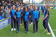 AFC Wimbledon youth teams walking around the pitch during the EFL Sky Bet League 1 match between AFC Wimbledon and Gillingham at the Cherry Red Records Stadium, Kingston, England on 23 March 2019.
