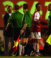 Photo. Javier Garcia<br />16/04/2003 Arsenal v Man Utd, FA Barclaycard Premiership, Highbury<br />Alex Ferguson thanks ref Mike Halsey on the pitch at the end of the game