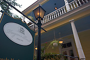 Sign marking Poogan's Porch restaurant in Charleston, SC. Charleston founded in 1670 is considered America's most beautifully preserved architectural and historic city.