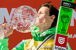 Overall World Cup winner Peter Prevc (SLO) kissing the globe  during trophy ceremony after the Ski Flying Hill Individual Competition at Day 4 of FIS Ski Jumping World Cup Final 2016, on March 20, 2016 in Planica, Slovenia. Photo by Vid Ponikvar / Sportida
