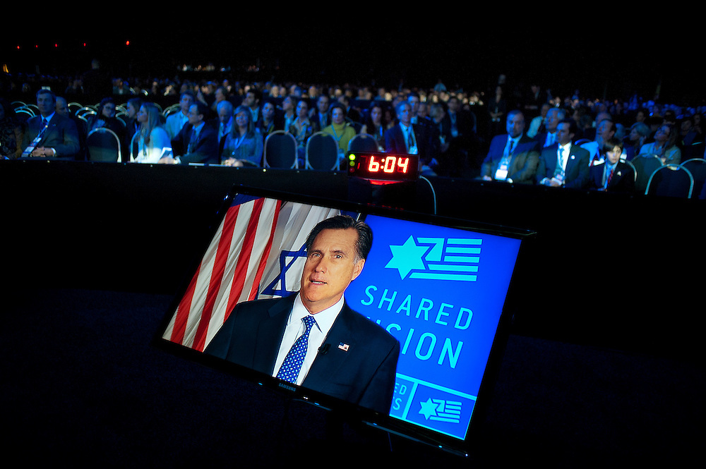Former Governor and Republican Presidential Candidate Mitt Romney speaks via teleconference at the American Israel Public Affairs Conference (AIPAC) in Washington, DC, USA on 6 March, 2012. More than 13,000 delegates are expected to attend the convention sponsored by largest pro-Israel lobby in the world and one of the strongest in the United States.