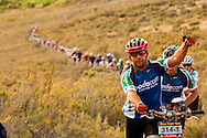 VILLIERSDORP, SOUTH AFRICA - Willlem de Vos hikes during stage two, of the Absa Cape Epic Mountain Bike Stage Race held in Villiersdorp on the 23 March 2009 in the Western Cape, South Africa..Photo by Sven Martin  /SPORTZPICS