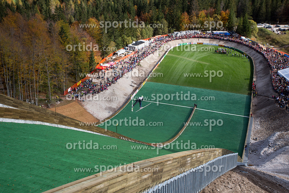 First jumper Primoz Peterka during Slovenian summer national championship and opening of the reconstructed Bloudek's hill in Planica on October 14, 2012 in Planica, Ratece, Slovenia. (Photo by Matic Klansek Velej / Sportida)