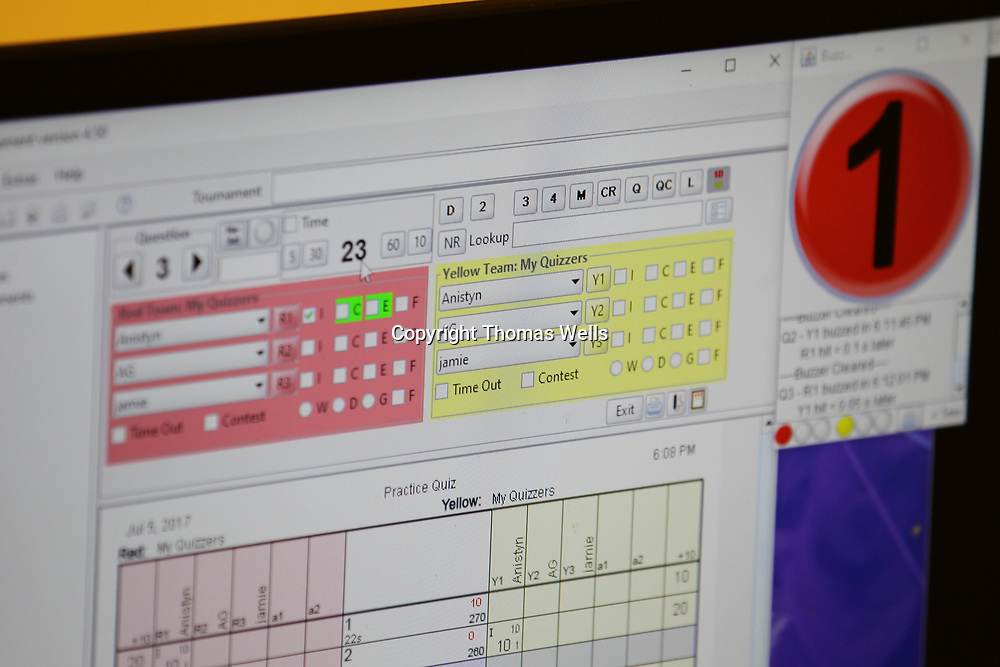 A computerized system is used allow competetors to buzz in and keep up wit scoring.