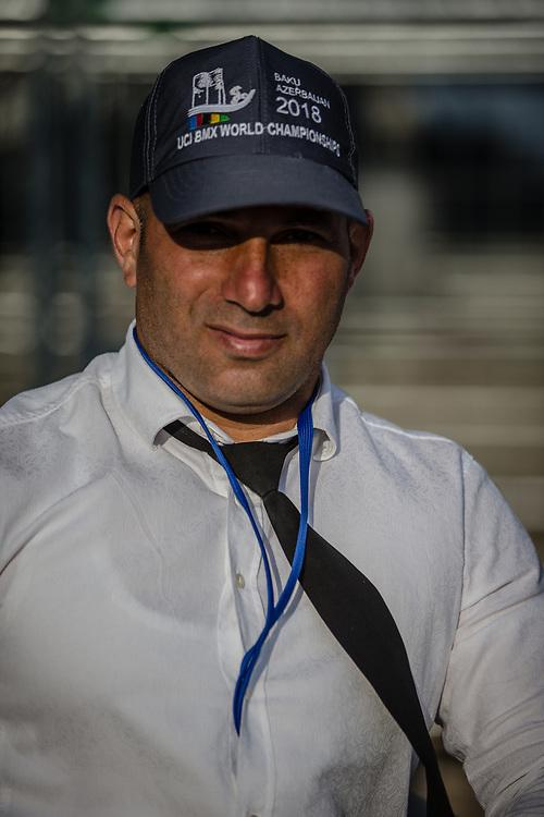 Security guard at the 2018 UCI BMX World Championships in Baku, Azerbaijan.
