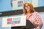 Janice Godrich, PCS president speaking at the TUC congress 2016, Brighton. UK.