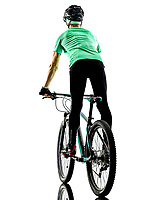 one caucasian man practicing man mountain bike bking isolated on white background with shadows