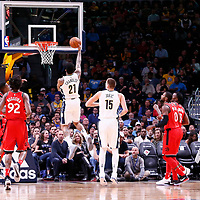 01 November 2017: Denver Nuggets forward Wilson Chandler (21) goes for the layup during the Denver Nuggets 129-111 victory over the Toronto Raptors, at the Pepsi Center, Denver, Colorado, USA.