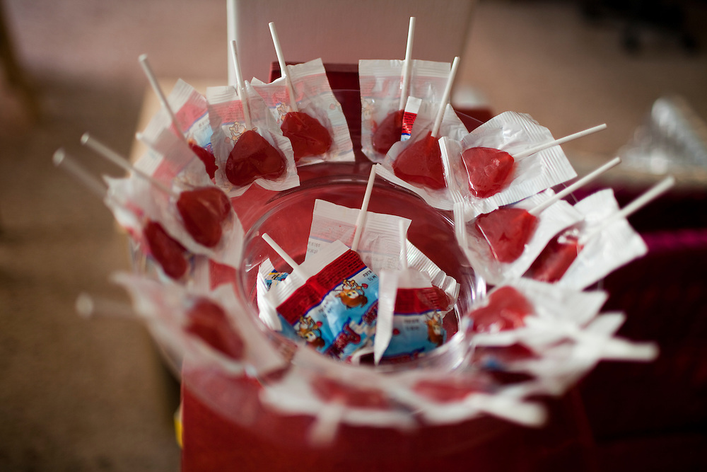 Heart shaped lollipops sit in a bowl in the office of Emiliano Godoy in Mexico City.
