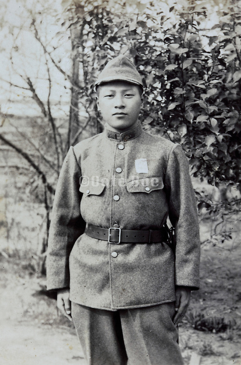 portrait of a conscript Japanese soldier during the war 1940s